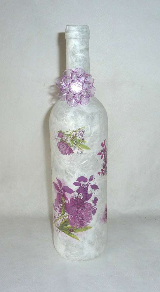 Leuchtflasche LILA BLUME - weiß - 30cm - Kreativshop Röderaue
