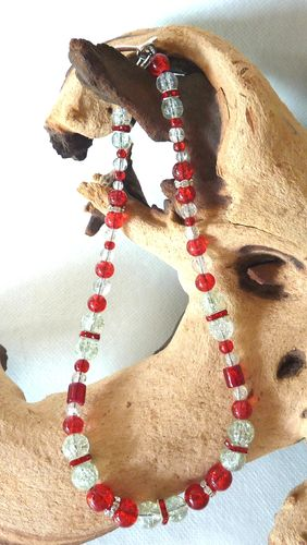 kurze Kette Collier - rot & transparent -